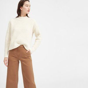 Everlane Wool-Cashmere Waffle Square Crew Sweater